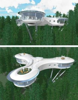 Look 20 Of The Most Bizarre Houses In The World The Syberite Tree House Project Blends Modular Design Cool Tree Houses Tree House Designs Futuristic Home