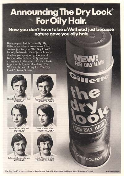 Gillette Dry Look Hairspray For Men 1973 Beauty Of The Past Is Very Present Pinterest