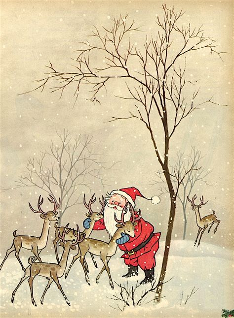 Santa and his reindeer. The Night Before Christmas written by Clement C. Moore ~ illustrated by Gyo Fujikawa ~ Family Circle Magazine, December, 1961. – Isabel Santos Pilot on Flickr.