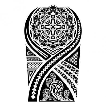 Vector Image Of The Sketch Of A Polynesian Tattoo The Stylized Sun And A Flower Ornament Patterns Of Maori Art Of Tatuagem Maori Tatuagem Maori Braco Maori