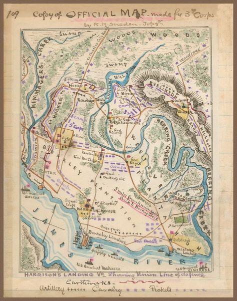 1862 Civil War Map Harrison S Landing Virginia James River Hand