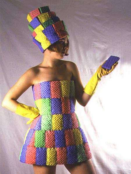 The sponge dress is entirely made of regular kitchen sponges. It is designed by freelance costume designer Kate Cusack.