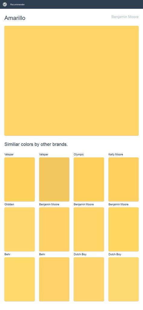 Amarillo Benjamin Moore Click The Image To See Similiar Colors By Other Brands