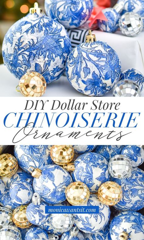DIY Blue & White Chinoiserie Christmas Ornaments Create ginger jar inspired blue and white chinoiserie ornaments for your Christmas and holiday decor using dollar store craft supplies. A budget friendly, affordable idea! Blue Christmas Decor, Gold Christmas, Diy Christmas Ornaments, Christmas Home, Holiday Crafts, Christmas Bulbs, Victorian Christmas, English Christmas, Christmas Mantles