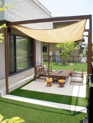伊賀市 人工芝とbbqのできるお庭 東万 パーゴラとパティオ