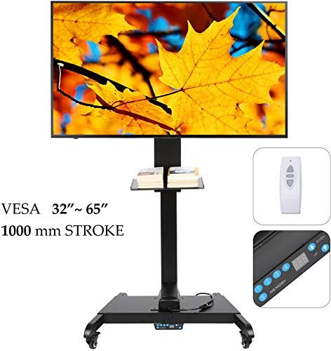 Amazing Offer On Co Z Mobile Motorized Tv Lift Floor Stands Rolling Tv Carts Flat Screen 32 65 Inches Tvs Wheels Shelves Height Adjustable Remote Controller Mo