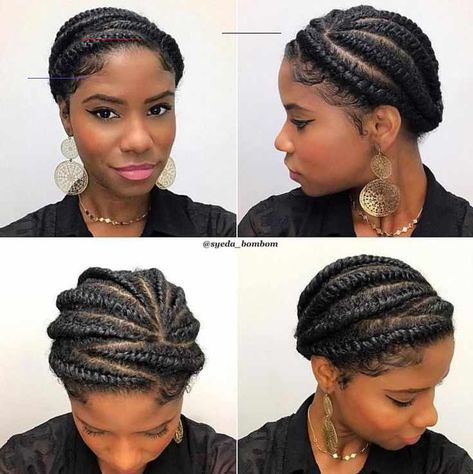 60 Easy and Showy Protective Hairstyles for Natural Hair -  Cute Twisted Updo For Natural Hair  - #BridalHair #BridesmaidHair #Easy #hair #hairstyles #ModernHaircuts #natural #NaturalHairBrides #protective #showy #WeddingHairs #WeddingUpdo<br>