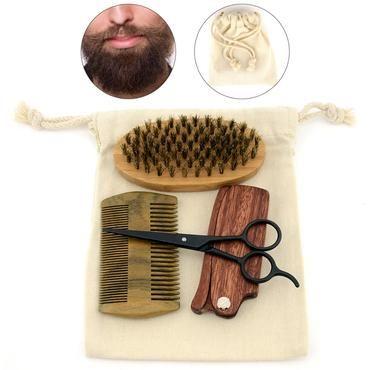 Gents Mens Beard Shaving Brush Boar Bristles Wooden Sandalwood Combs Set Kit