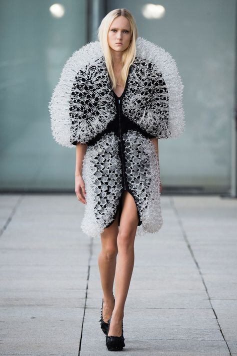 The Dutch fashion designer Iris van Herpen presented prints on clothing and fashion accessories which have been grown with magnets. The Iris van Herpen Spring / Summer 2015 collection ready-to-wear