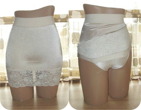 d409c89c860 Vintage 80s Half Slip Panty Girdle VANITY FAIR Shaper L Attached Panties  Shapewear