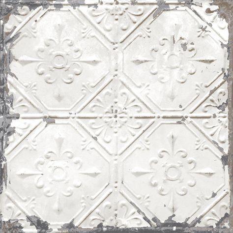 Nuwallpaper Vintage Tin Tile Peel And Stick White Off White Wallpaper Sample Nu2086sam The Home Depot Vintage Tin Tiles White Tin Ceiling Antique Tin Ceiling Tile