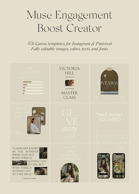576 Instagram Posts Stories Templates. Muse Engagement Boost Creator Canva Social Media Download Now