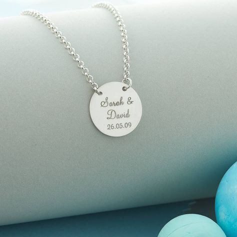 Personalised Suspended Silver Circle Necklace