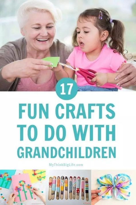 Looking for an activity for you and your grandkids? Use this handy list of 17 fun crafts to do with grandchildren and start creating many awesome memories. tips and grandchildren Rainy Day Crafts, Fun Crafts To Do, How To Do Craft, Craft Stick Projects, Craft Stick Crafts, Craft Ideas, Baby Crafts, Kids Crafts, Activities To Do