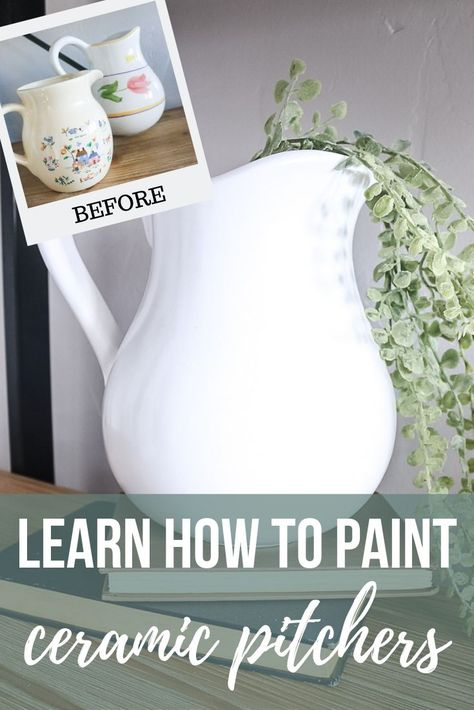 You won't believe how easy it is to paint ceramic pitchers from the thrift store! No more buying overpriced farmhouse pitchers.just upcycle them! store crafts vintage DIY White Farmhouse Pitcher From Tacky Thrift Store Find Thrift Store Art, Thrift Store Furniture, Thrift Store Finds, Thrift Store Decorating, Thrift Stores, Upcycled Furniture, Online Thrift, Refurbished Furniture, Farmhouse Pitchers