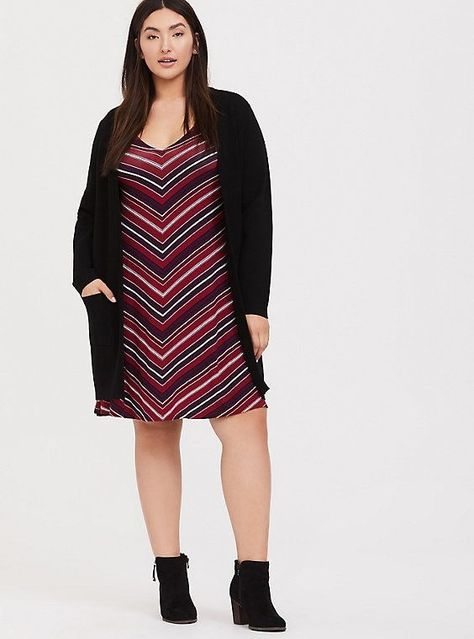 Photo of Red & Multi Stripe Jersey Fluted Dress