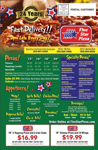 Five Star Pizza Star Pizza Big Pizza Food Coupon
