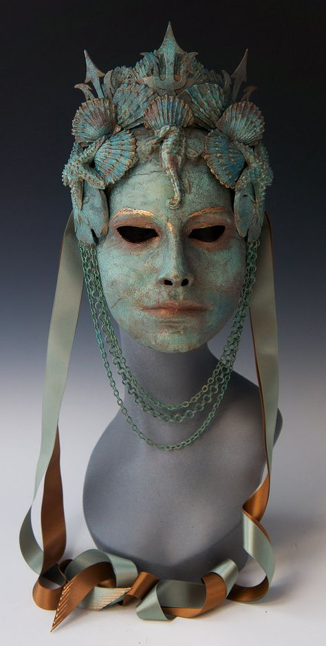 OUT-OF-STOCK/MADE-TO-ORDER: lead time is weeks. Please convo me before purchasing. This lovely mask could have just been brought up from the depths of the Mediterranean Sea, where shes been ruling the depths with Neptune (note his trident in her crown Mascara Papel Mache, Costume Venitien, Foto Fashion, Woman Fashion, Gothic Fashion, Venetian Masks, Masks Art, Paperclay, Masquerade Ball