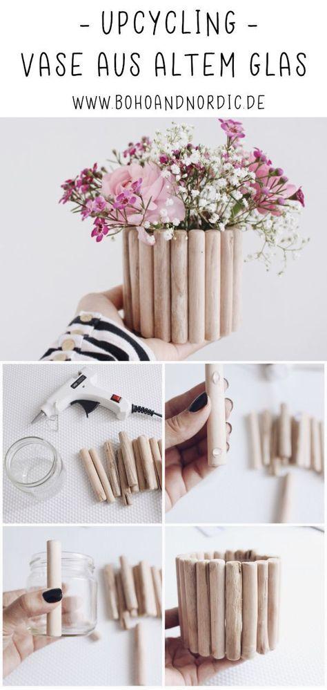 Diy Vase aus Holz selber machen. Upcycling. Dekoration basteln. Einfache und kreative Bastelanleitung. Geschenkidee für den Frühling. #diy #vase #basteln #deko #holz #upcycling #selbermachen #dekoration #geschenk #geschenkidee #bastelidee #bastelanleitung