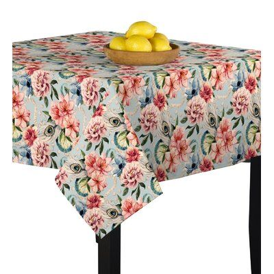 East Urban Home Floral Feathers Tablecloth Size 90 X 90