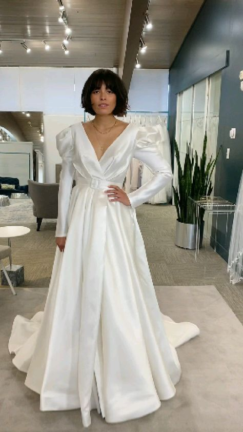 Truly unique modest wedding dress - minimal , eye catching perfection
