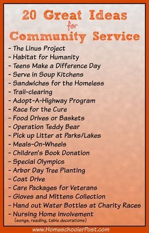 One community service project seemed to lead to another for Michael Patterson, grown homeschooler. He shares  a variety of service project ideas in here that could work for your family. And as Michael reminds us,