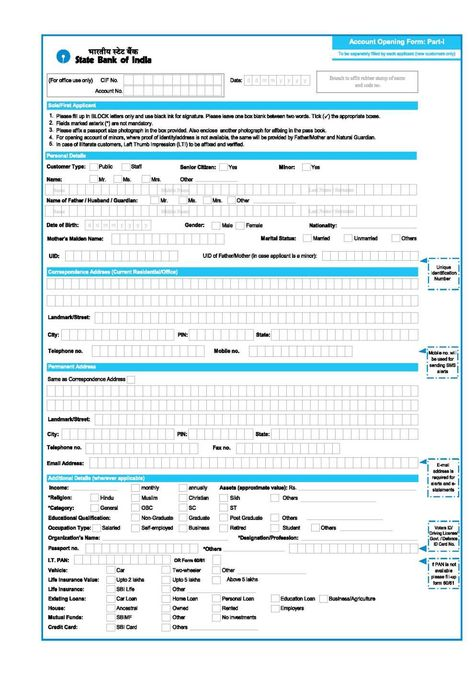 State Bank Of India Account Opening Form Pdf 2 Jpg 990 1409
