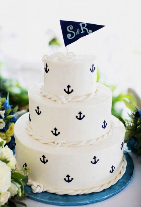 Cute cake for a wedding at sea!