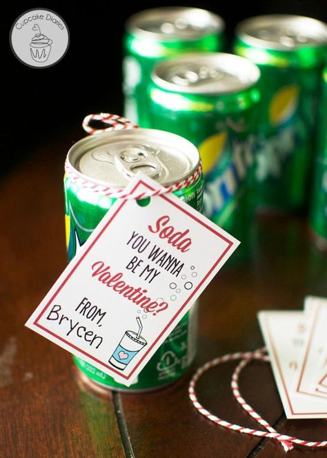 Soda Valentine With Free Printable Tags Valentines Printables Valentine Tags Valentine S Day Printables
