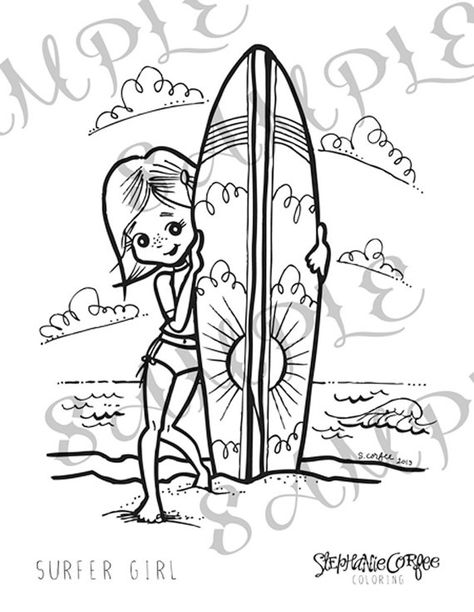 Surfer Girl Coloring Page Instant Digital Download Coloring