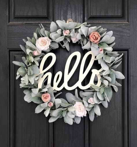 Excited to share this item from my shop: Spring Wreath for Front Door, Hello Wreath, Lambs Ear Wreath, Welcome Spring Wreaths, Blush Decor - New Deko Sites Decoration Entree, Lambs Ear, Front Door Decor, Front Door Wreaths, Front Porch, Spring Wreaths For Front Door Diy, Door Entry, Front Doors, Mesh Wreaths