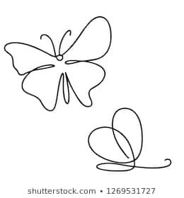 Continuous Line Art Or One Line Drawing Of Beautiful Butterfly