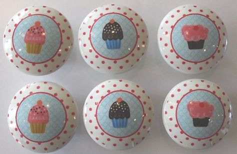 Cupcake Dresser Knobs Pink Blue Brown Polka dot - I want these!