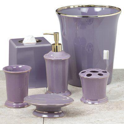 House Of Hampton Braziel 6 Piece Bathroom Accessory Set In 2020 Purple Bathroom Accessories Lavender Bathroom Purple Bathrooms