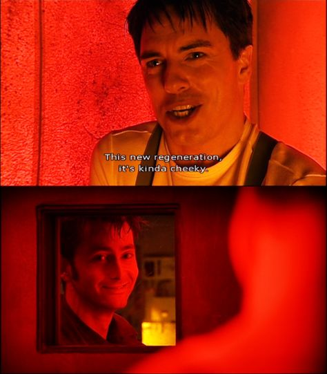 I love this scene between them, the heart-to-heart. It shows a personal connection between two characters in a way that we don't often see in Doctor Who. Doctor Who, 10th Doctor, Twelfth Doctor, Tardis, Bae, Captain Jack Harkness, John Barrowman, Out Of Touch, Don't Blink