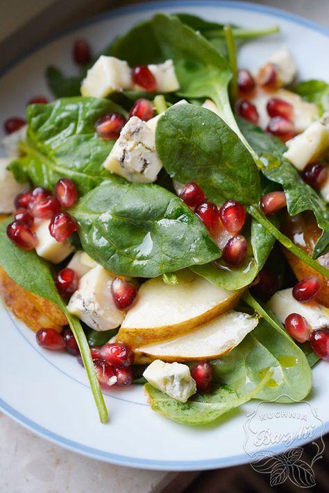 Sałatka ze szpinakiem, gorgonzolą i granatem - sprawdź przepis na blogu!