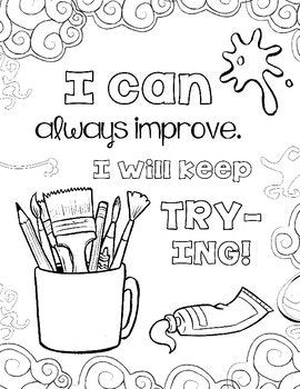 Growth Mindset Coloring Pages Set 2 The Art Class Edition Coloring Pages Art Class Coloring Pages For Boys