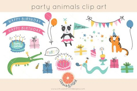 birthday party animals clip art by Citrus and Mint on @creativemarket
