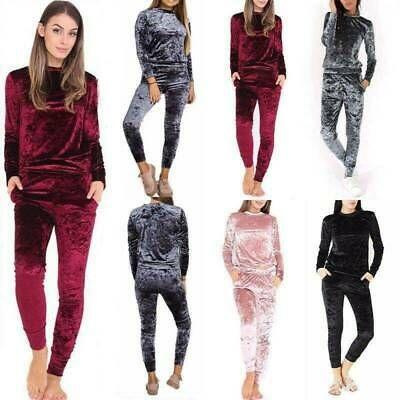 UK Ladies Crushed Velvet Lounge Suit Sweatshirt Pant Women Lounge Wear Tracksuit