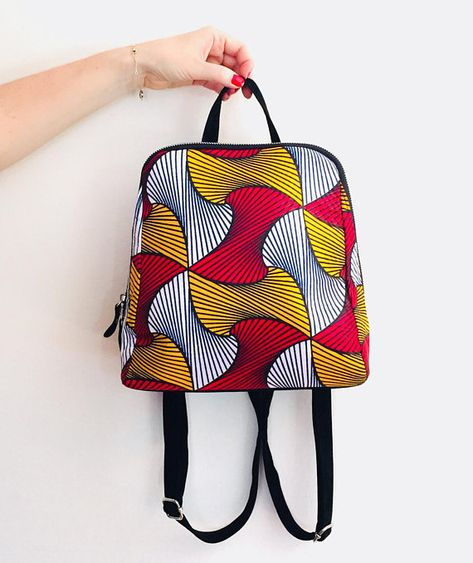Fashion backpack wax print african print ankara print ethnic geometric yellow, red print backpack for woman
