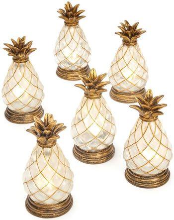 Brylane Home Set Of 6 Small Battery Operated Indoor Outdoor Pineapple Lamps Indoor Or Outdoor Table Lamps Outdoor Table Lamps Pineapple Lights Indoor Lamp