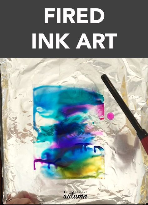 This fired ink art turns out so cool! It's so easy even kids can do it (with adult supervision).