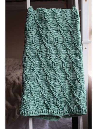 Aran Green Cables Blanket Crochet Pattern download from Annie's Craft Store. Order here: https://www.anniescatalog.com/detail.html?prod_id=149468&cat_id=468