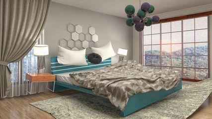 Zero Gravity Bed Hovering In Bedroom 3d Illustration Aff Bed