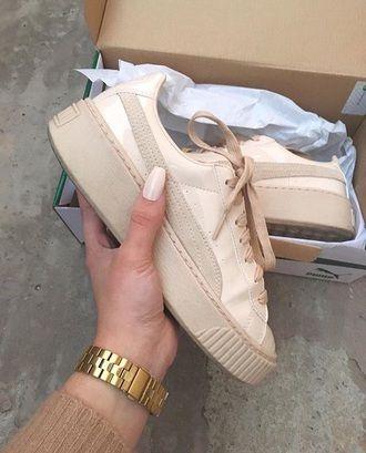 shoes puma sneakers puma beige beige