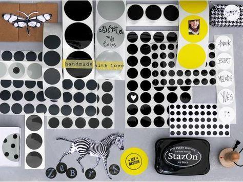 Klebepunkte schwarz, weiß, grau & gelb - Papeterie - Kirsch Interior