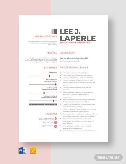 Radio News Reporter Resume Template In 2020 Resume Template Resume News Quotes