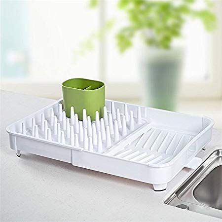 Expandable Dish Drying Rack And Drainboard Set Foldaway Integrated