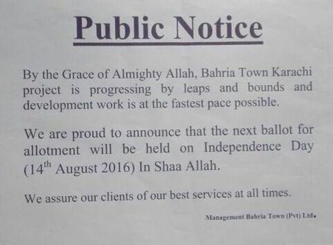 Bahria Town Karachi has give out next balloting date through