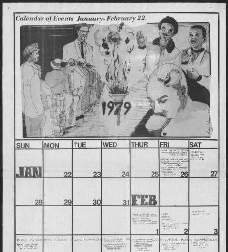 Afro American Affairs Athens Ohio January 1979 Calendar Of
